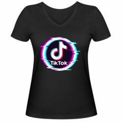 Жіноча футболка з V-подібним вирізом Tik tock glitch ring