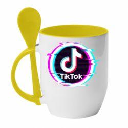 Кружка з керамічною ложкою Tik tock glitch ring