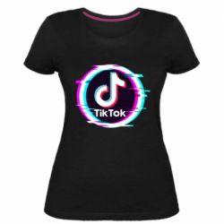 Жіноча стрейчева футболка Tik tock glitch ring