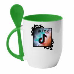 Кружка з керамічною ложкою Tik Tok art
