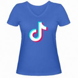 Жіноча футболка з V-подібним вирізом TikTok sign