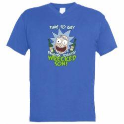 Мужская футболка  с V-образным вырезом Time to get riggity wrecked son