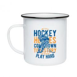 Кружка емальована Time To Play Hockey
