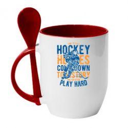 Кружка з керамічною ложкою Time To Play Hockey