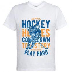 Чоловіча футболка з V-подібним вирізом Time To Play Hockey