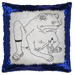 Подушка-хамелеон Toad with human hands