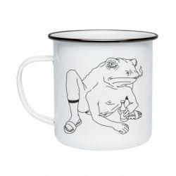 Кружка емальована Toad with human hands