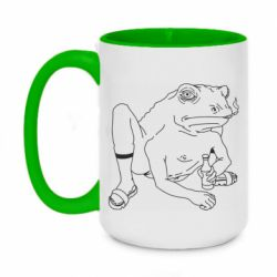 Кружка двоколірна 420ml Toad with human hands