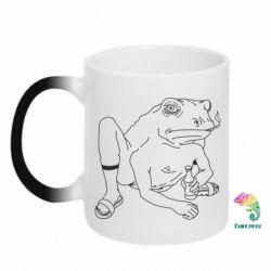 Кружка-хамелеон Toad with human hands