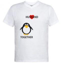 Мужская футболка  с V-образным вырезом Together forever2