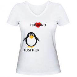 Женская футболка с V-образным вырезом Together forever2