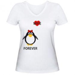 Женская футболка с V-образным вырезом Together forever - FatLine