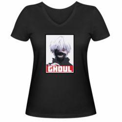 Женская футболка с V-образным вырезом Tokyo Ghoul portrait