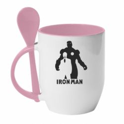 Кружка с керамической ложкой Tony iron man