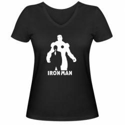 Женская футболка с V-образным вырезом Tony iron man