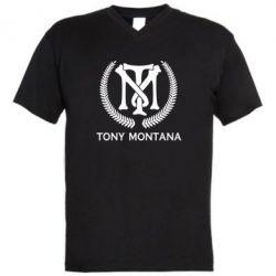 Чоловіча футболка з V-подібним вирізом Tony Montana Logo