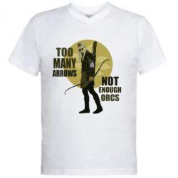 Мужская футболка  с V-образным вырезом Too many arrows, not enought orcs - FatLine
