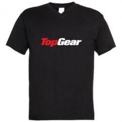 Мужская футболка  с V-образным вырезом Top Gear - FatLine