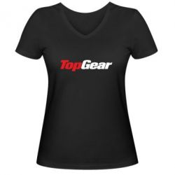 Женская футболка с V-образным вырезом Top Gear - FatLine