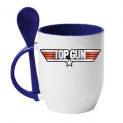 Кружка з керамічною ложкою Top Gun Logo