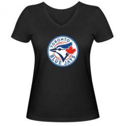 Женская футболка с V-образным вырезом Toronto Blue Jays