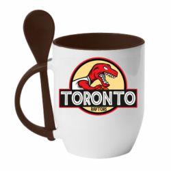 Кружка с керамической ложкой Toronto raptors park