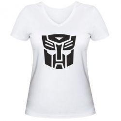 Женская футболка с V-образным вырезом Трансформеры Автоботы - FatLine