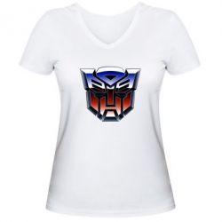 Женская футболка с V-образным вырезом Трансформеры Лого 1