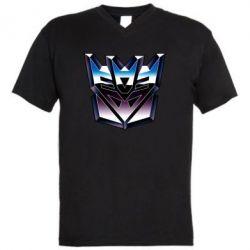 Мужская футболка  с V-образным вырезом Трансформеры Лого 2