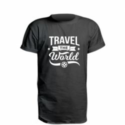 Удлиненная футболка Travel the world and compass