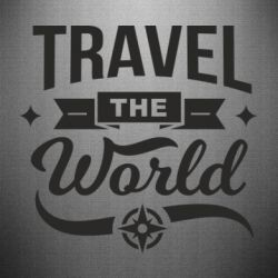 Наклейка Travel the world and compass