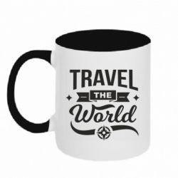 Кружка двоколірна 320ml Travel the world and compass