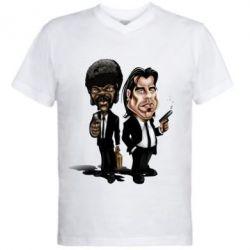 Мужская футболка  с V-образным вырезом Travolta & L Jackson - FatLine
