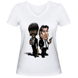 Женская футболка с V-образным вырезом Travolta & L Jackson