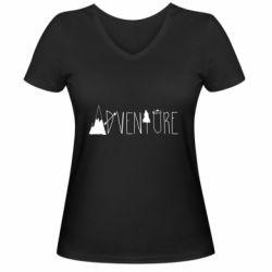 Женская футболка с V-образным вырезом Trees and mountains