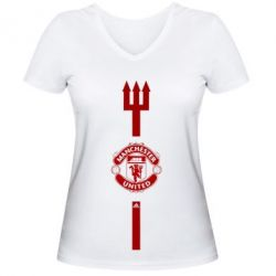 Женская футболка с V-образным вырезом Трезуб Манчастер