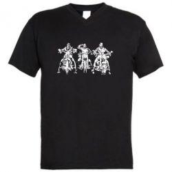 Мужская футболка  с V-образным вырезом Три богатыря - FatLine