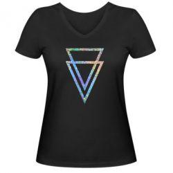 Женская футболка с V-образным вырезом Triangles Голограмма