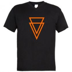 Мужская футболка  с V-образным вырезом Triangles - FatLine