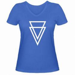 Женская футболка с V-образным вырезом Triangles - FatLine