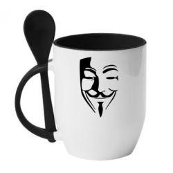 Купить Кружка с керамической ложкой Tribal anonymous, FatLine