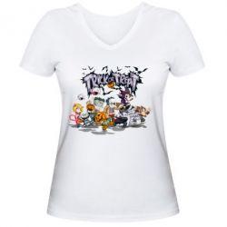 Женская футболка с V-образным вырезом Trick or treat - FatLine