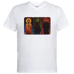 Мужская футболка  с V-образным вырезом Трио Сверхъестественное - FatLine