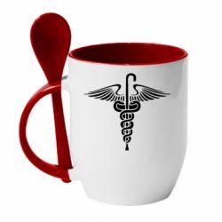 Кружка с керамической ложкой Трость Доктора Хауса