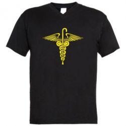 Мужская футболка  с V-образным вырезом Трость Доктора Хауса - FatLine
