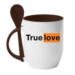 Кружка с керамической ложкой True love