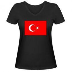 Женская футболка с V-образным вырезом Турция - FatLine
