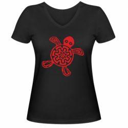 Жіноча футболка з V-подібним вирізом Turtle fossil