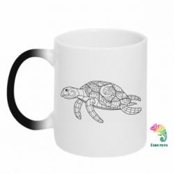 Кружка-хамелеон Turtle with patterns
