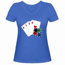 Женская футболка с V-образным вырезом Тузы - FatLine